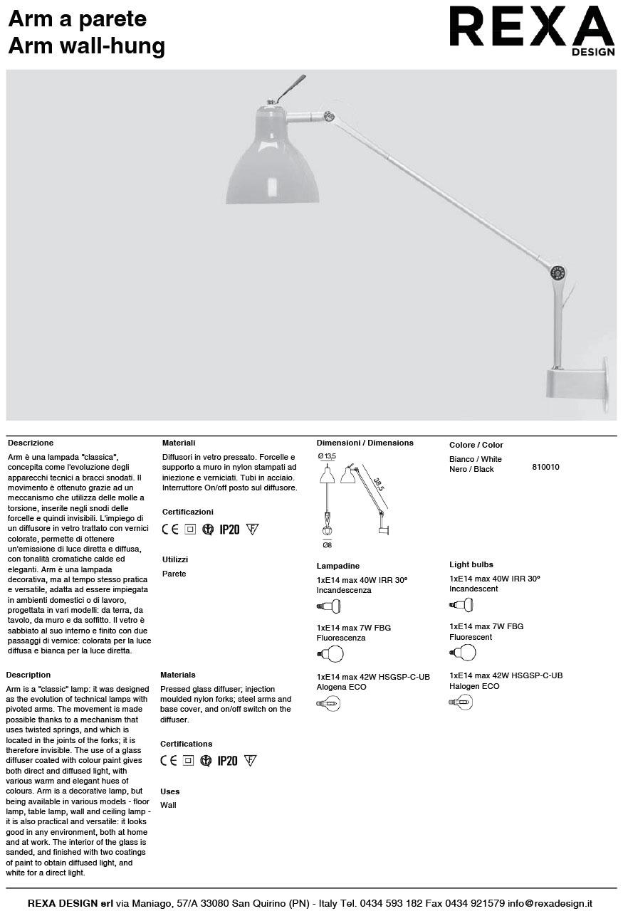 scheda tecnica lampada